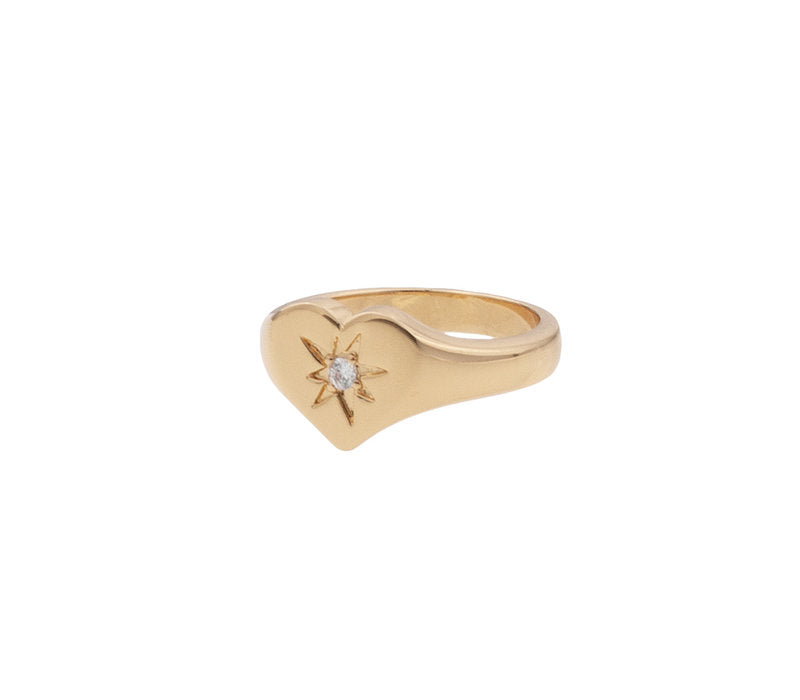 RING SIGNET HEART CLEAR