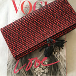 CLUTCH MONA POMPONS, RED/BLACK