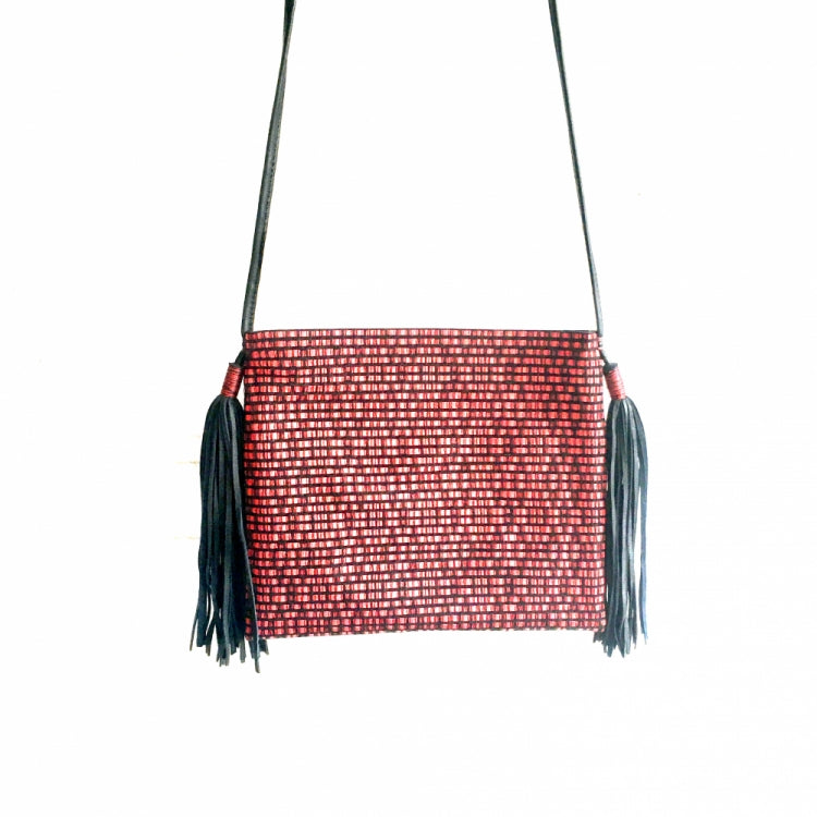 SHOULDER BAG 2 POMPONS,  RED/BLACK
