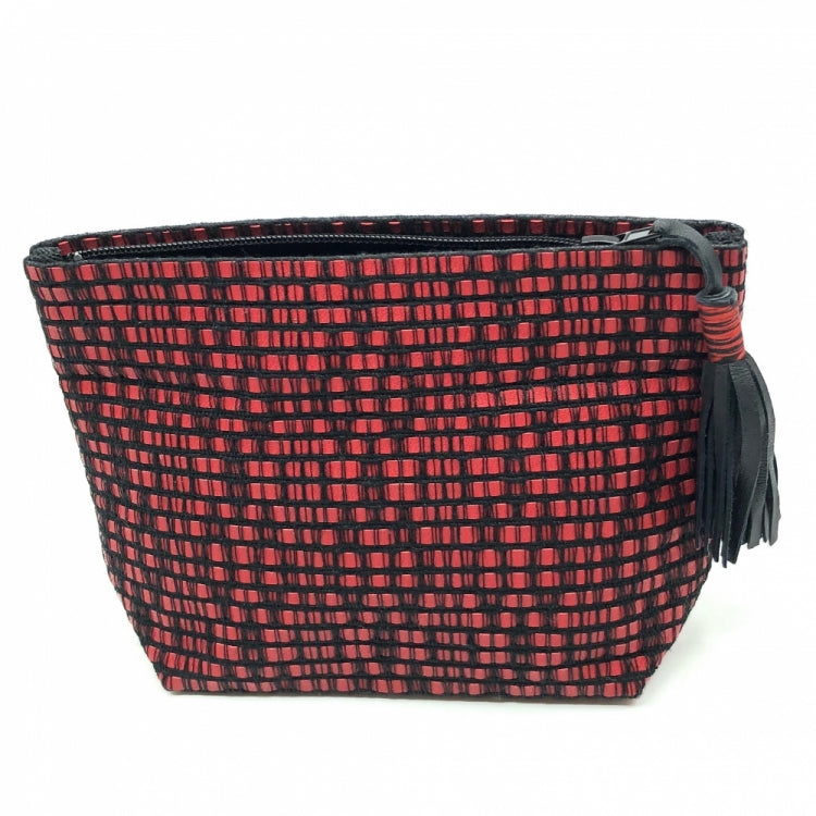 POUCH PM POMPOM, RED/BLACK