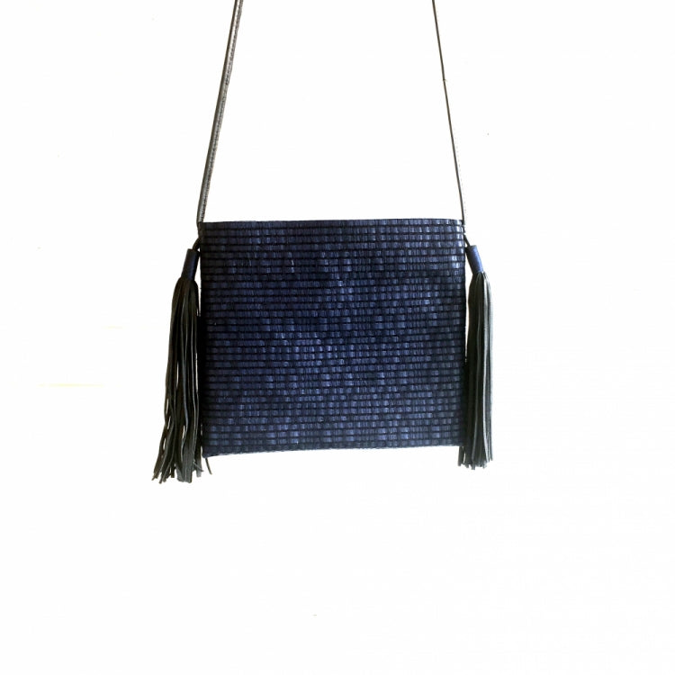 SHOULDER BAG 2 POMPONS, BLUE/ BLACK