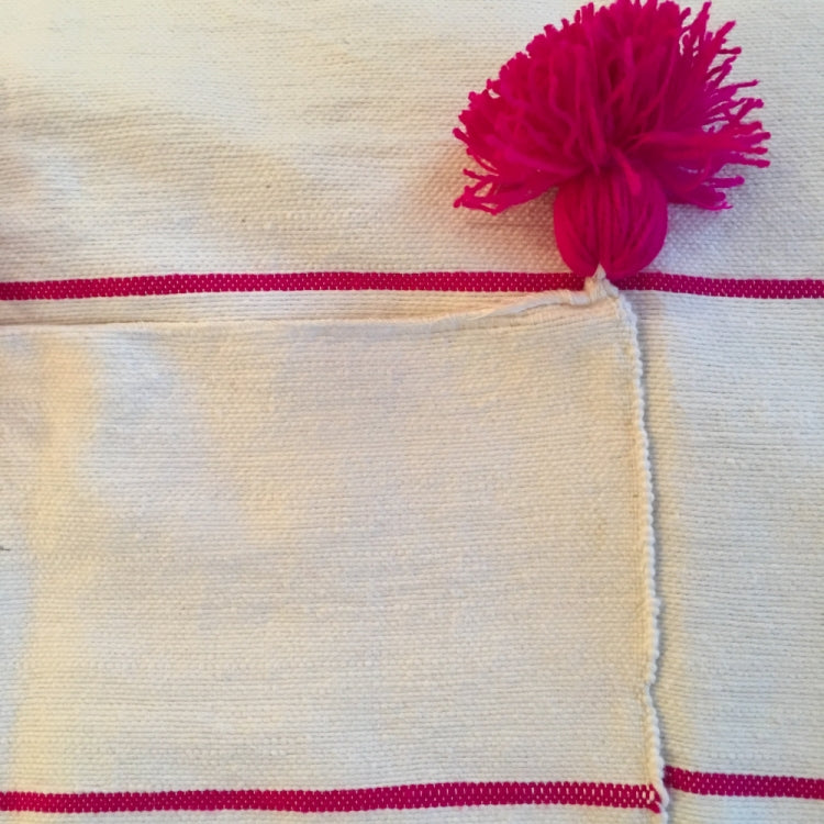 BLANKET POM POM, OFF-WHITE & PINK