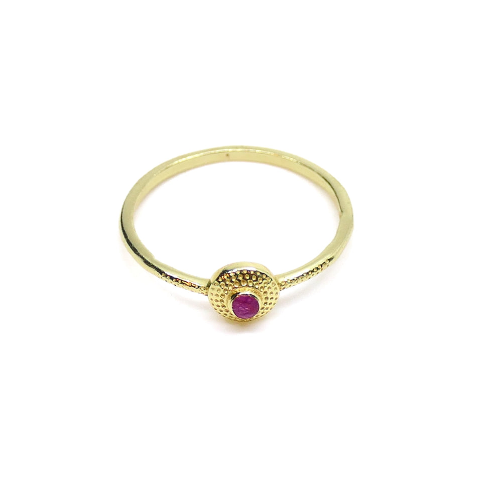 ROUND RUBY HAMMERED RING