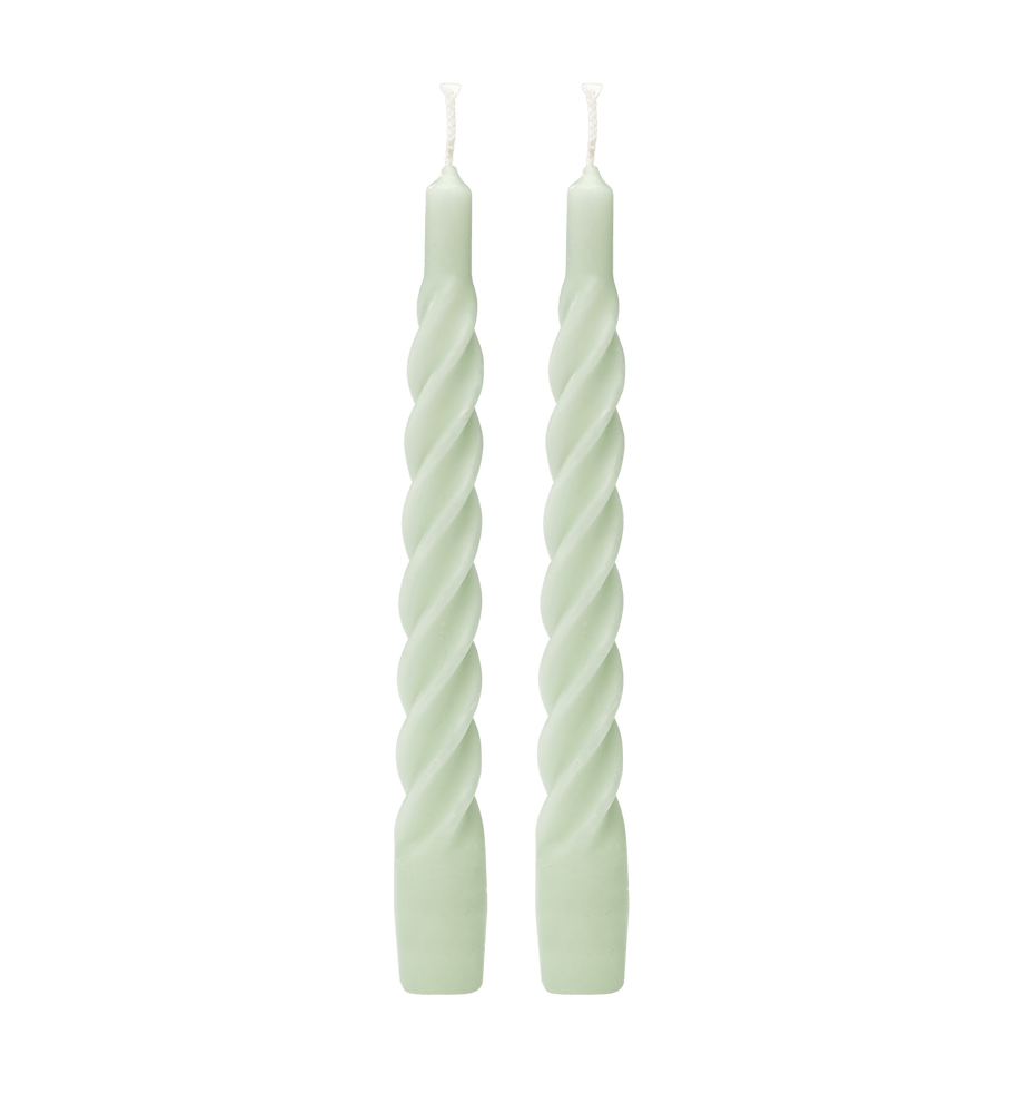 ANNA + NINA Matt Light Green Twisted Candle Set