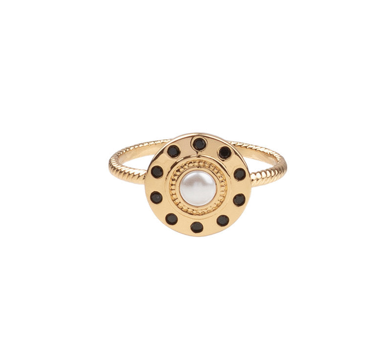 RING CIRCLE PEARL BLACK