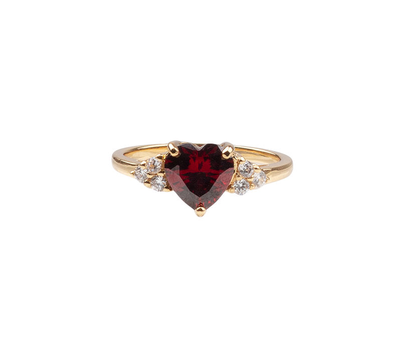 RING HEART DARK RED CLEAR