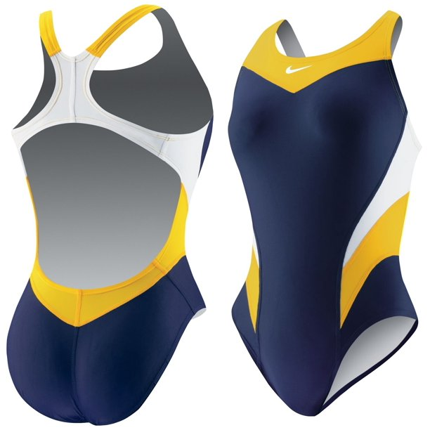 Nike Girls Victory Color Block Power Back Tank Swimsuit, Navy/Gold, 24/GIRLS 8