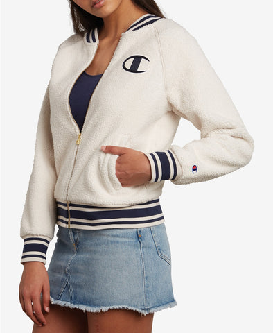 Champion LIFE Women Sherpa Full Zip Jacket in Quartz Cream - BrandsForLess.CO