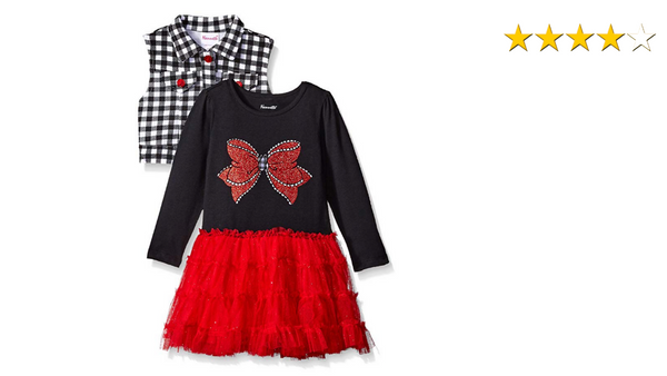 Nannette Girls Long Sleeve Tutu Dress with Sparkle Bow Bodice and Knit Vest Size 4 - BrandsForLess.CO