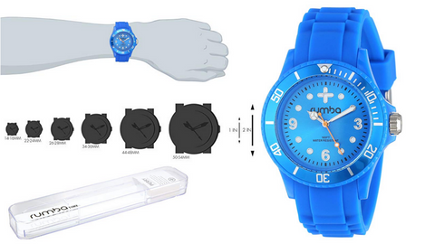 RumbaTime Unisex 12542 Perry Silicone Band 38MM Azul Modern Stylish Analog Watch - BrandsForLess.CO