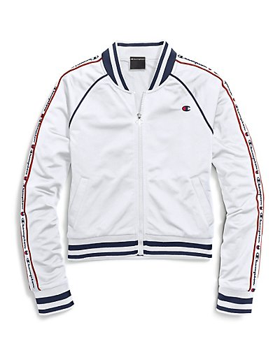 Champion LIFE Women Track Jacket, Color: White - BrandsForLess.CO