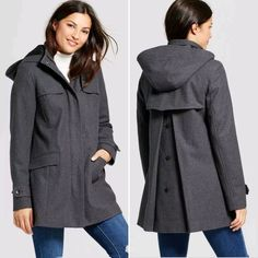 Women Wool Duffle Coat A New Day Heather Gray - BrandsForLess.CO