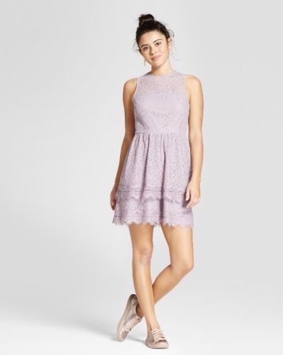 Women Short Sleeve Lace Fit & Flare Dress Xhilaration Amethyst - BrandsForLess.CO