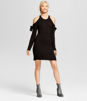 Women Cold Shoulder Bow-Sleeve Sweater Dress-Xhilaration Black - BrandsForLess.CO
