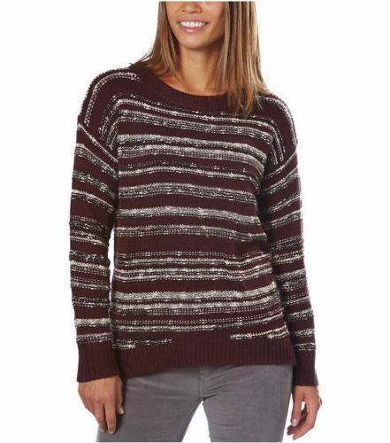 CALVIN KLEIN JEANS WOMEN MARLED SWEATER CURVED HIGH LOW HEM Classic Plum Small - BrandsForLess.CO