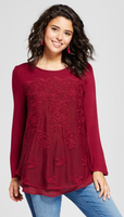 Women Lace Front Knit Top Xhilaration Burgundy - BrandsForLess.CO