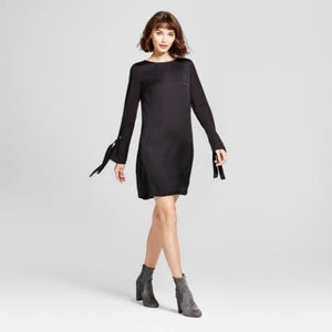 Women Easy Waist with Eyelet Detail Dress Long Sleeve Mossimo Black  X-SMALL - BrandsForLess.CO