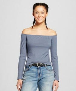 Mossimo Women Long Sleeve Off the Shoulder Rib Top - BrandsForLess.CO