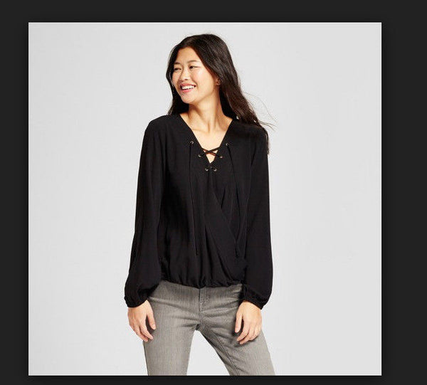 Women Long Sleeve V Neck Top Mossimo Supply Co. Black by Mossimo Supply Co. - BrandsForLess.CO