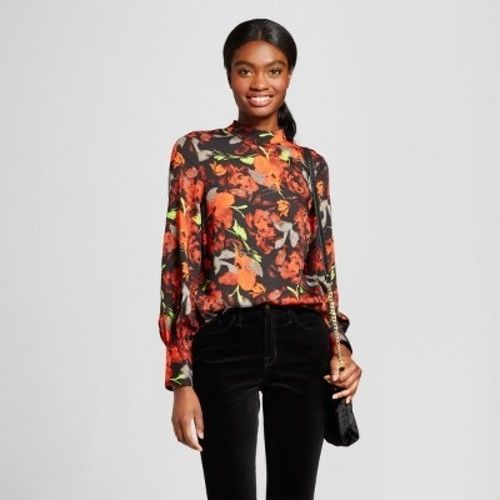 Mossimo Women Long Sleeve High Neck Blouse X-SMALL - BrandsForLess.CO