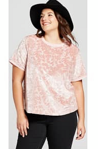Women Plus Size Short Sleeve Velour T-Shirt A New Day Smoked Pink - BrandsForLess.CO