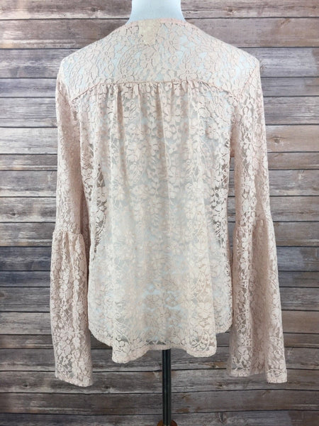 Mossimo Supply Co. Women Long Sleeve Lace Top PINK CREAM - BrandsForLess.CO