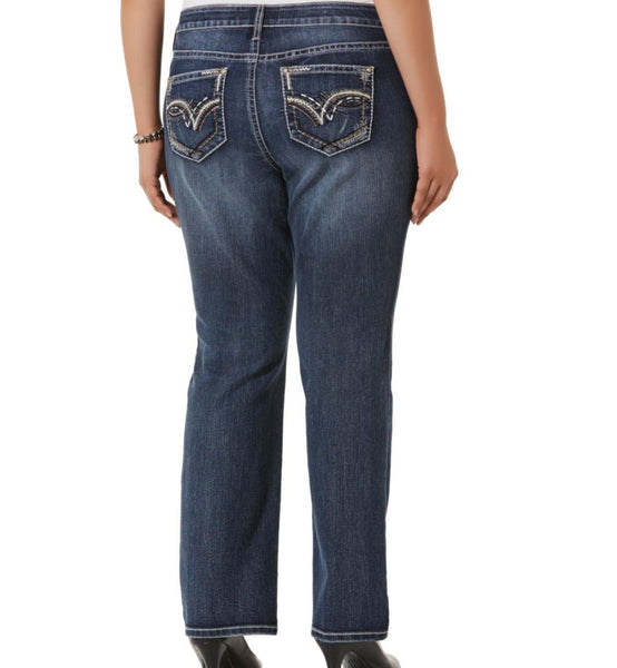Simply Emma Women Plus Jeans Bootcut Embellished Zanadi - BrandsForLess.CO