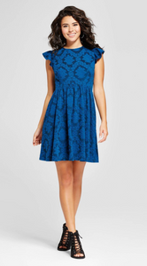 Women Jacquard Ruffle Sleeve Fit & Flare Dress Xhilaration Blue - BrandsForLess.CO