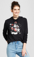 Women Disney Mickey & Minnie Kissing Graphic Hoodie Juniors Black - BrandsForLess.CO
