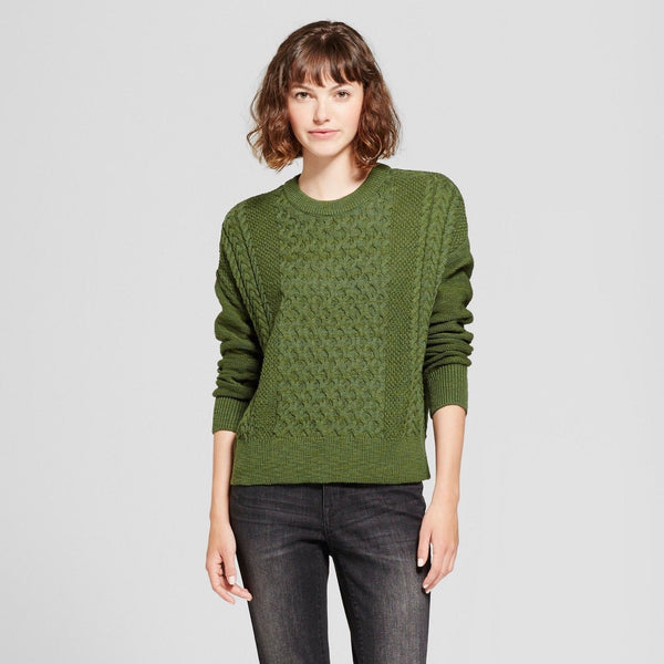 Women Pullover Sweater Mossimo Supply Co. Green - BrandsForLess.CO