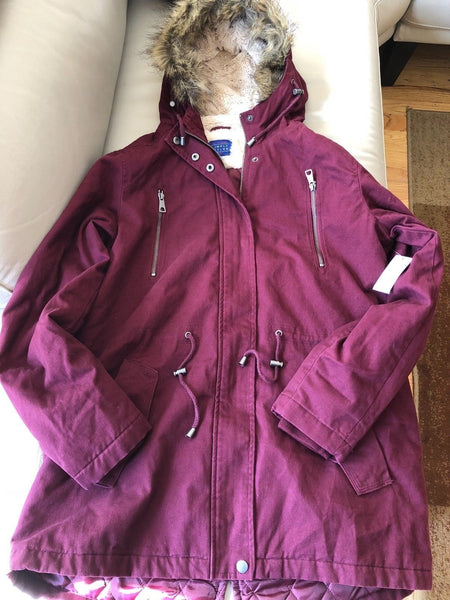 Simply Styled Women Hooded Anorak LARGE Burgundy - BrandsForLess.CO