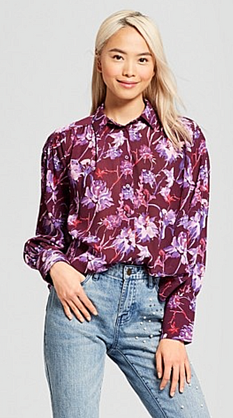 Women Long Sleeve Puff Shirt Who What Wear Purple Floral - BrandsForLess.CO