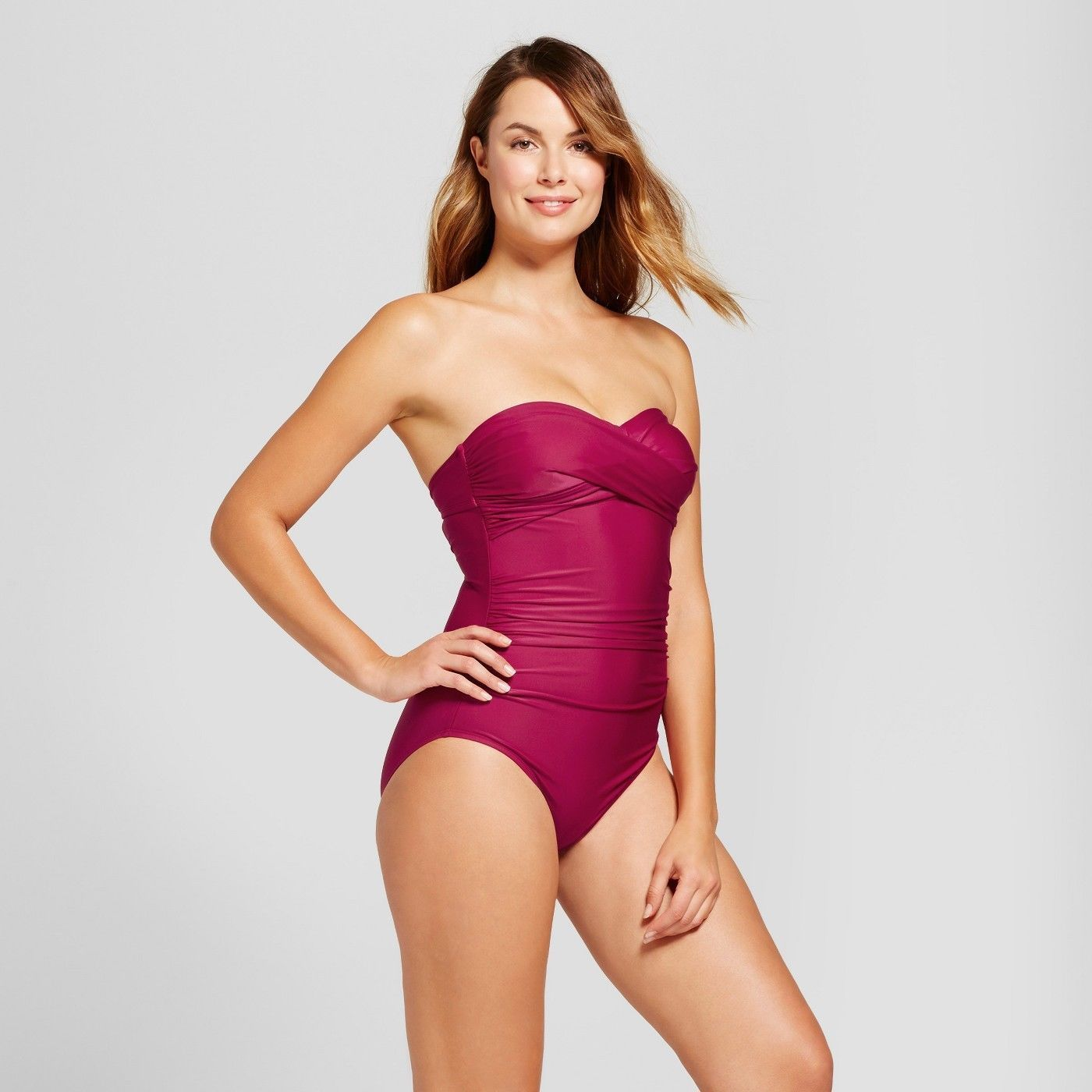 Merona Berry Bandeau Shirred Halter One Piece Swimsuit LARGE - BrandsForLess.CO