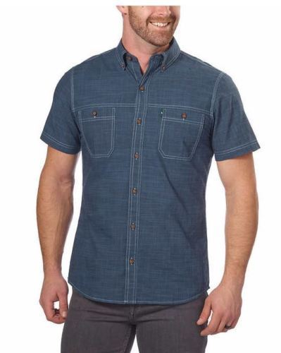 G.H. Bass & Co. Men Short Sleeve Woven Shirt Outer Space - BrandsForLess.CO