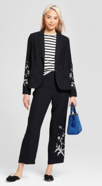 Women Embroidered Blazer Who What Wear Black - BrandsForLess.CO