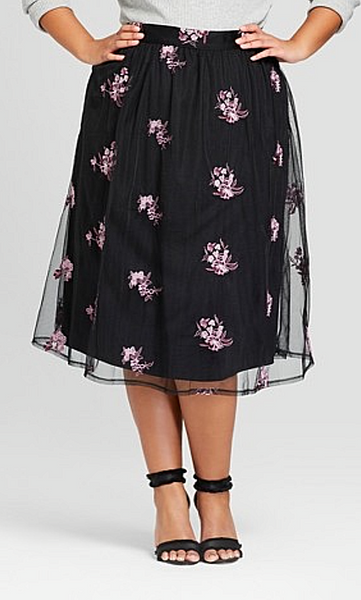 Women Embroidered Mesh Midi Skirt Who What Wear Black - BrandsForLess.CO