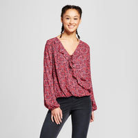 Women Printed Long Sleeve V-Neck Top - Mossimo - BrandsForLess.CO