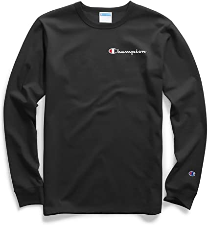 Champion Embroidered Script Logo Black T-Shirt, Black, Medium - BrandsForLess.CO