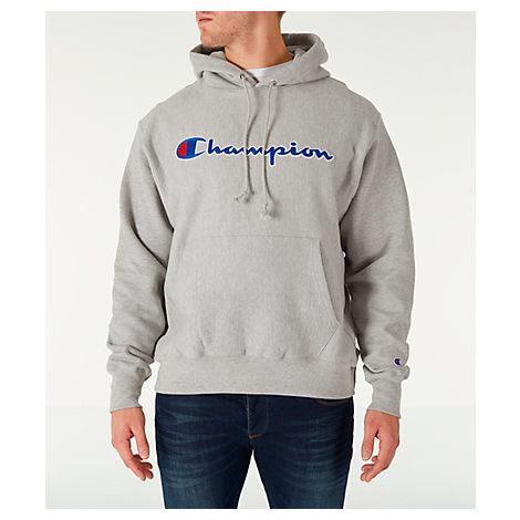Champion Life Men Reverse Weave Pullover Hood Oxford Grey/Chainstitch Script - BrandsForLess.CO