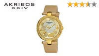 Akribos XXIV Women AKR434 Diamond Sunray Diamond Dial Quartz Strap Watch - BrandsForLess.CO