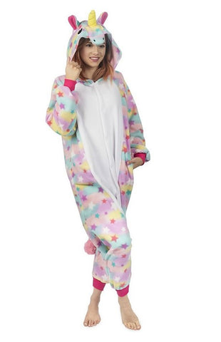 Unicorn Animal Onesie Costume Pajamas, Color: Rainbow - BrandsForLess.CO