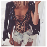 Leopard Print Lace-up V-neck Low Cut Jumpsuit Sleeveless Bodysuit - BrandsForLess.CO