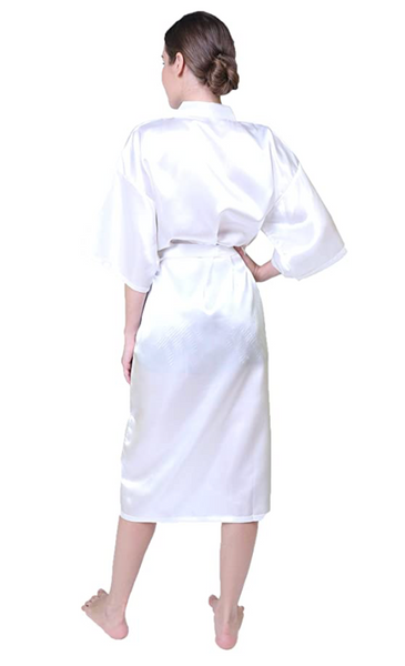 Women Pure Color Long Robes,Nightgown Bridesmaid Kimono with Oblique V-Neck(White XXXL) - BrandsForLess.CO