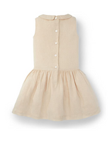 Girls Beige Collared Drop Waist Dress Size:6 Color:Beige - BrandsForLess.CO