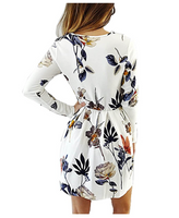 Women Floral Dress Long Sleeve Maternity Bodycon Swing Pleated Knee Length Short Mini Dress,Medium - BrandsForLess.CO