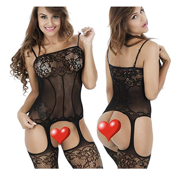 Queen.K Lingerie Bodystockings, Sexy Stretch Fishnet Lace Crotchless Underwear Bodysuit Black One Size For Women (Black) - BrandsForLess.CO