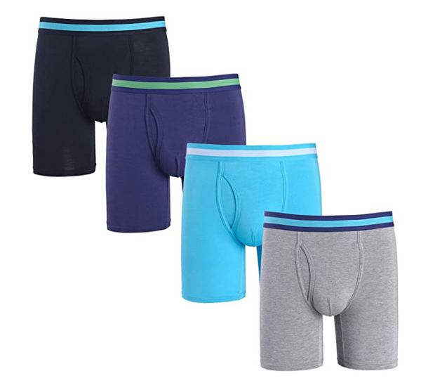 Men 4 Pack Comfort Soft Bamboo Long Boxer Briefs Underwear Size:XL/Waist Size 38-40 - BrandsForLess.CO