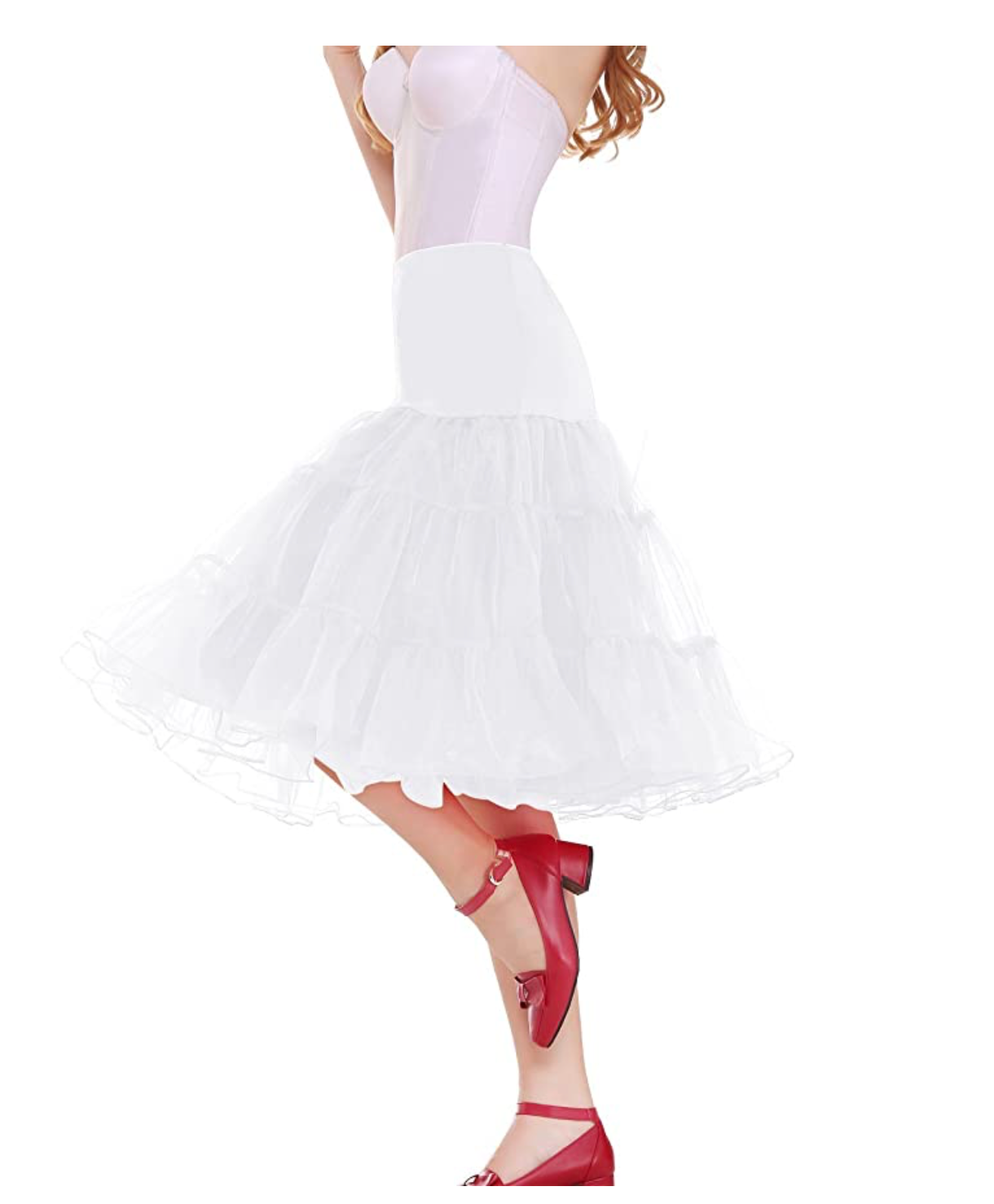 "Women 50s Vintage Rockabilly Petticoat,26"" Length Net Underskirt White, XL - BrandsForLess.CO"