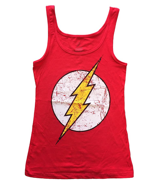 Justice League Flash Logo Juniors Tank Top Tee (Small) Red - BrandsForLess.CO