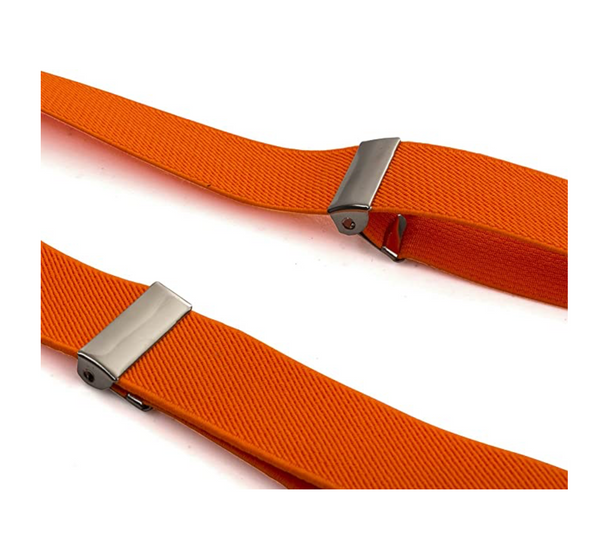 Orange Suspenders - Elastic Suspenders - Adjustable Suspenders w/Braces - Y-Back Elastic - BrandsForLess.CO